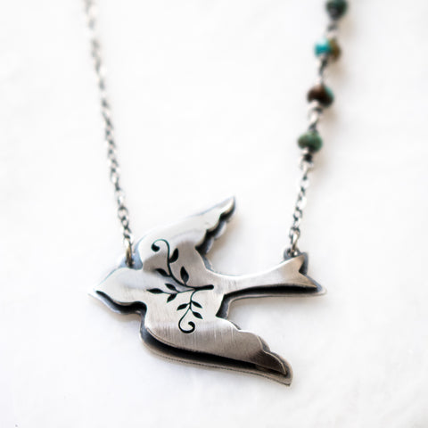 Bird + Turquoise Necklace - Artisan's Bench