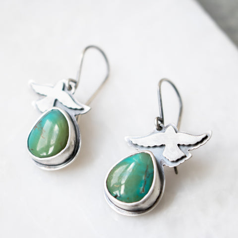 Turquoise + Bird Earrings - Artisan's Bench