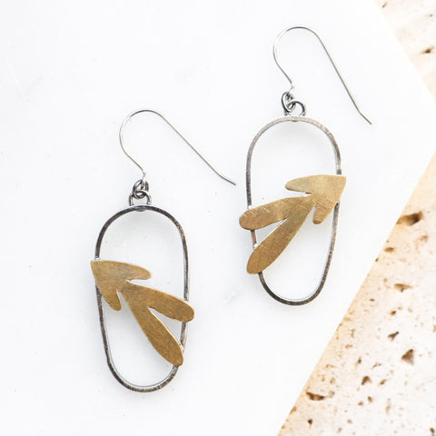 Wanderer Leaf Brass Earrings