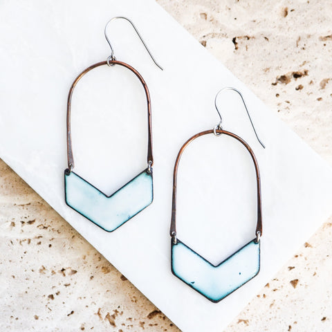 Copper Arch + Enamel Chevron Earrings