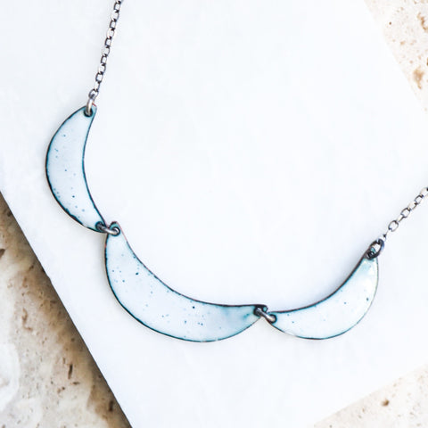 Triple Enamel Crescent Collar Necklace