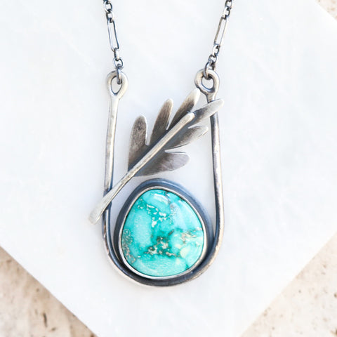 Turquoise & Leaf Cradled Necklace