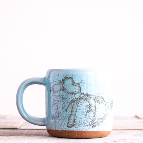 Michigan Map Coffee Mug | Light Blue