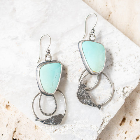 American Turquoise Perched Bird Earrings