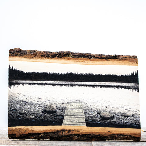 Evening on the Lake | Drawing on Wood