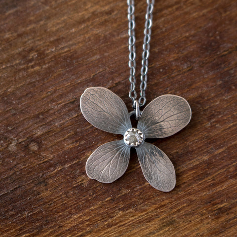 Diamond + Hydrangea Necklace no.3 - Artisan's Bench
