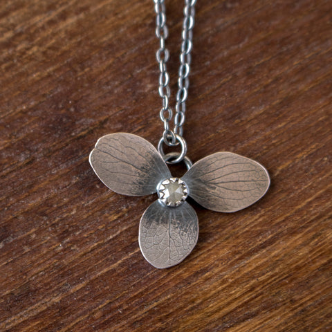Diamond + Hydrangea Necklace no.1 - Artisan's Bench