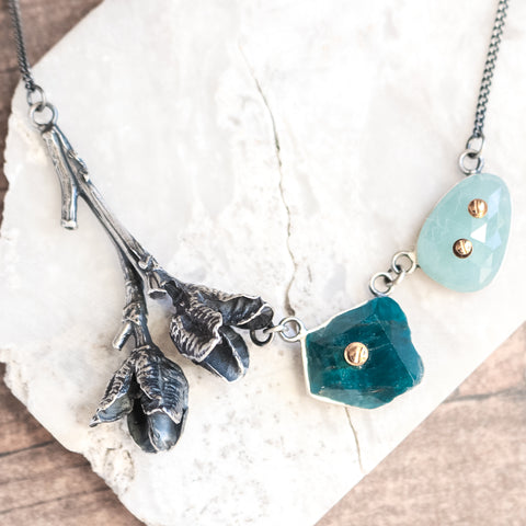 Aqua + Apatite Daylily Bolted Necklace