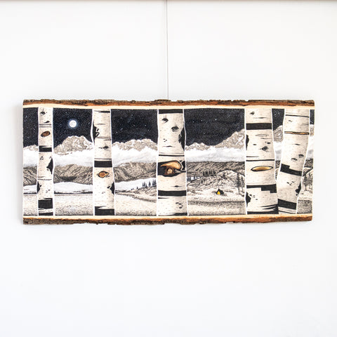 Camping Under the Moon | Drawing on Wood