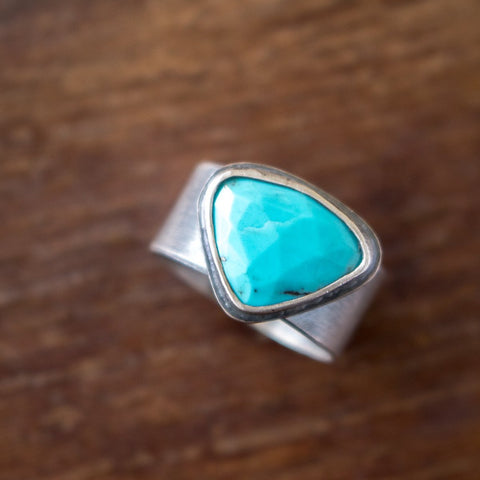 Size 7.5 | Faceted Turquoise Ring - Artisan's Bench