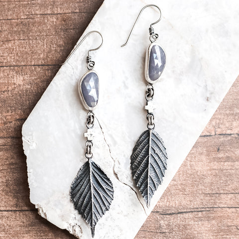 Sapphire Plus + Leaf Earrings