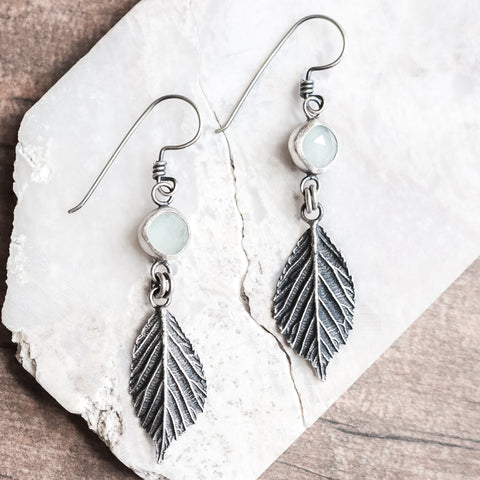 Aquamarine Leaf Earrings