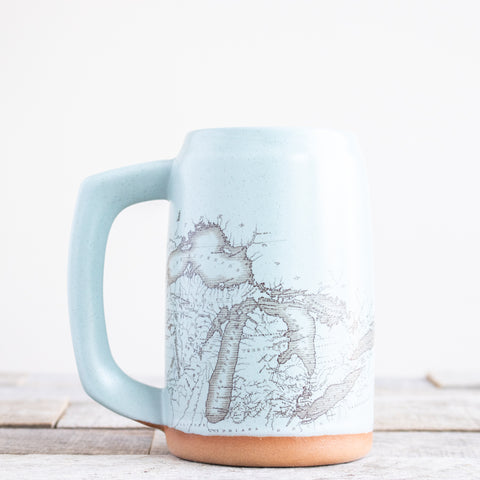 Michigan Map Stein | Light Blue