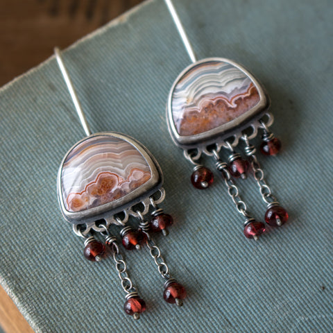 'Charmed' Agate + Sapphire Earrings - Artisan's Bench