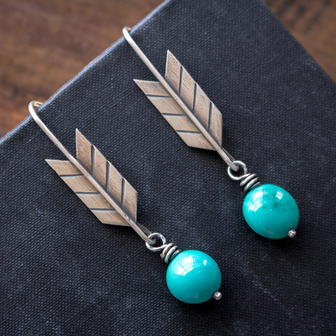 'Just Be Brave' Turquoise Earrings