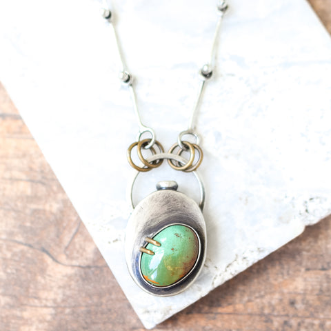 Turquoise Wildflower Keeper Vase Necklace