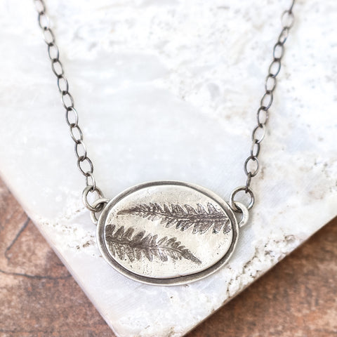 Oval Pressed Fern Necklace