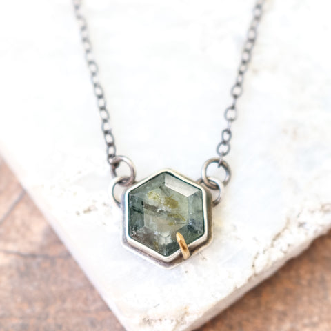 Tourmalinated Prehnite Hex Necklace