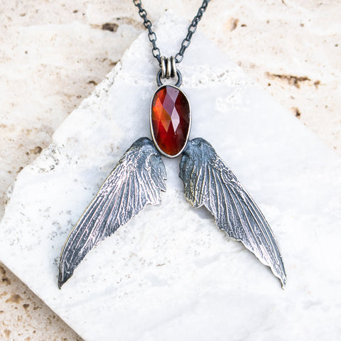 Garnet + Hummingbird Wings Necklace