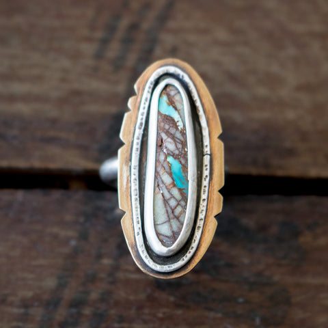 Size 7 | Turquoise Ribbon + Bronze Ring - Artisan's Bench