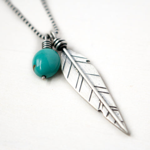 Hope Turquoise Feather Necklace