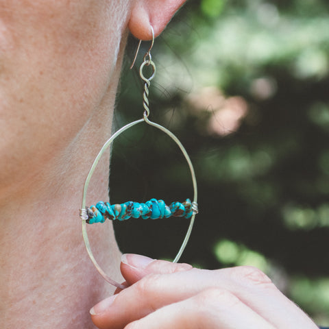 Turquoise Twined Large Hoop Earrings