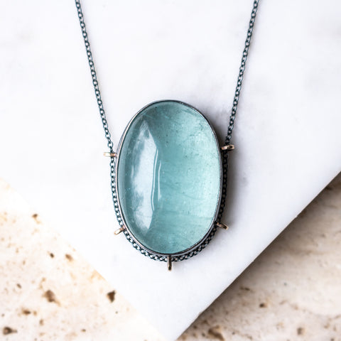 Aquamarine Oval Necklace
