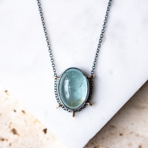 Aquamarine Small Oval Necklace