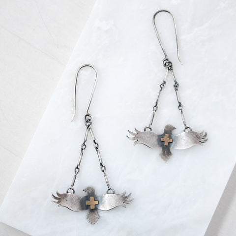 Silver + Gold Bird Earrings - Artisan's Bench