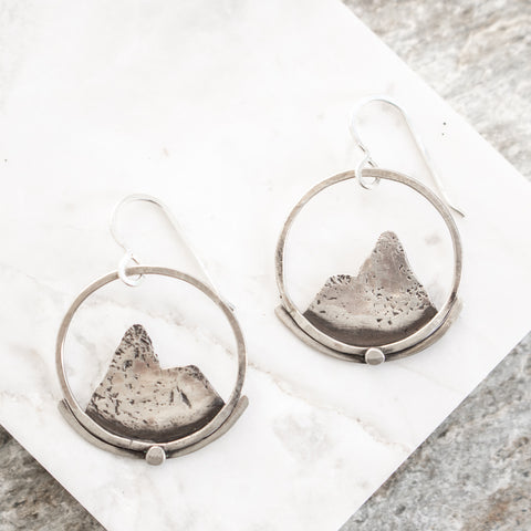 Silver Mountains Hoop Earrings