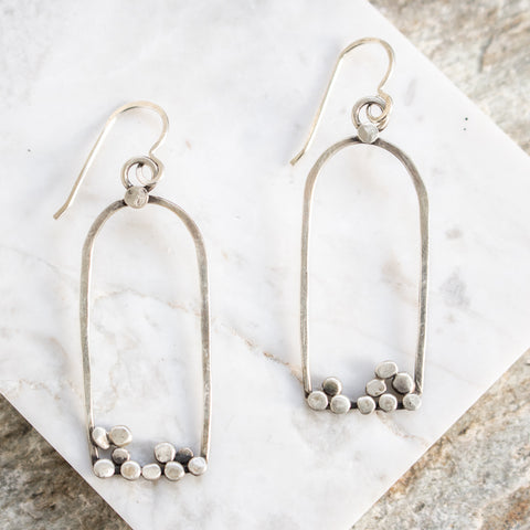 Silver Dots Stirrup Earrings