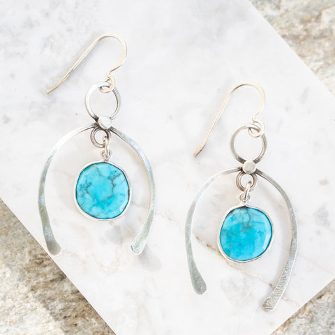 Turquoise Horseshoe Earrings