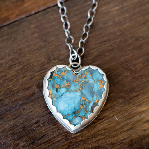 Turquoise Heart Necklace - Artisan's Bench