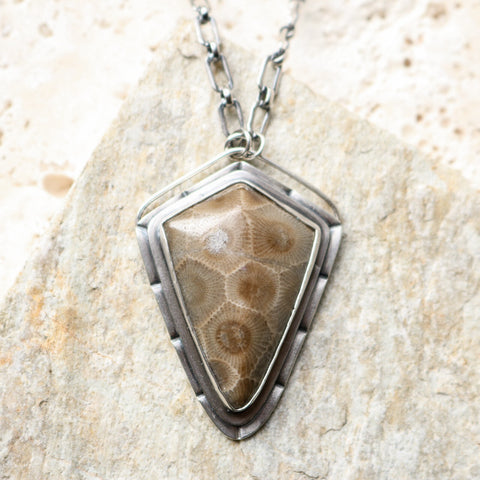 Petoskey Stone Shield Necklace