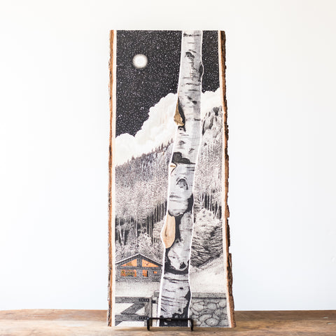 Mountain Cabin | Drawing on Wood