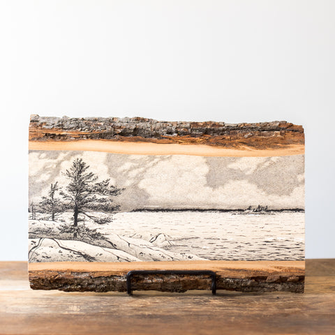 Clouds Over Georgian Bay | Drawing on Wood