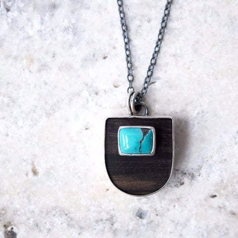 Wood Pendant w/Turquoise Inlay - Artisan's Bench