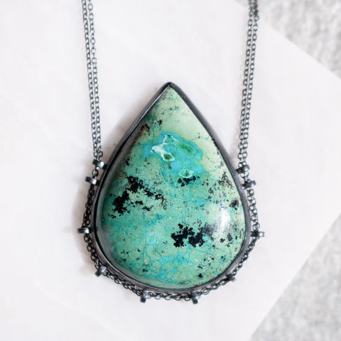 Aqua Chrysocolla Pear Necklace - Artisan's Bench