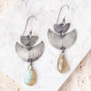 Crescent Earrings with Labradorite