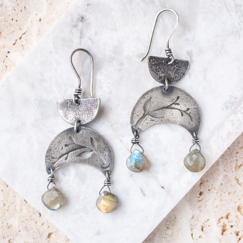 Labradorite Vine Crescent Earrings