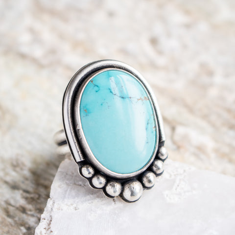 Size 8 1/2 | Sierra Nevada Turquoise Ring with Dots