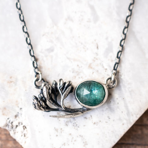 Green Kyanite + Botanical Necklace no.1