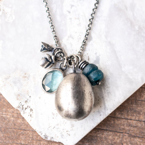 Aquamarine + Apatite + Silver Egg Necklace