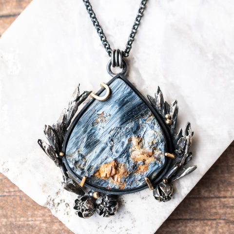 Pietersite + Cast Botanicals 14k Necklace