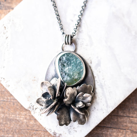 Aquamarine + Succulents Necklace
