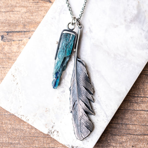 Kyanite + Cast Feather Necklace