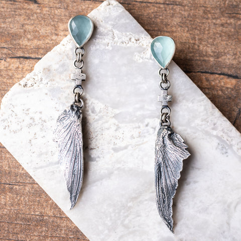 Hummingbird Wing + Aquamarine Plus Earrings