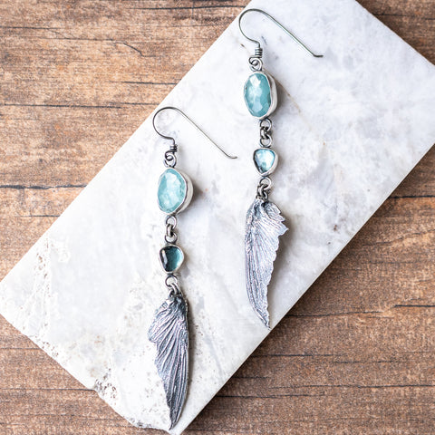 Hummingbird Wing + Aquamarine + Topaz Earrings