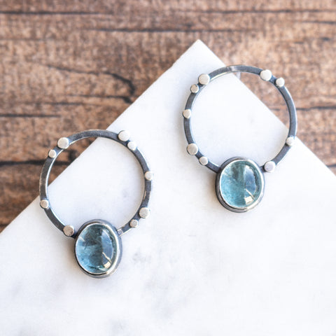 Aqua Galaxy Orbit Earrings