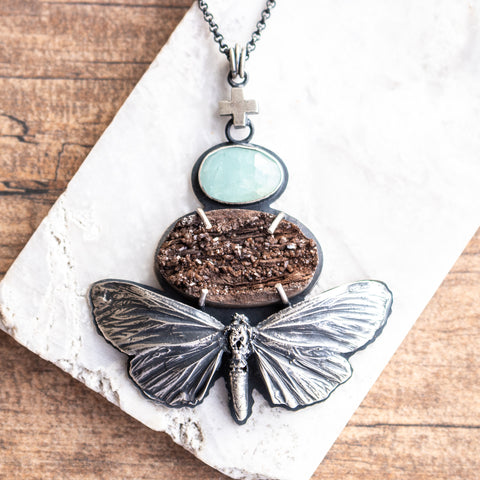 Silver Moth, Petrified Bark + Aquamarine Necklace